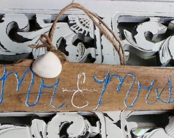 Nautical wedding decoration , mr & mrs sign , Driftwood Sign , beach reception l