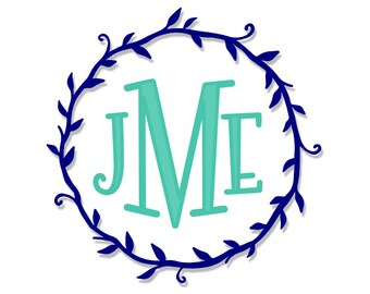 Vinyl Monogram | Vine Monogram | Leaf Monogram | Leaf Wreath Monogram | Wreath Monogram Decal | Leaf Frame Decal | Vinyl Decal | Monogram