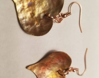 Copper Heart Earrings Curved, Flame Painted
