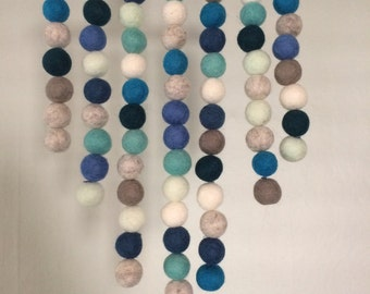 Felt Ball Wall Hanging - Blue & Grey