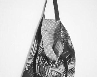 totebag grey color polkadot soft cotton fabric springstyle  feather unique