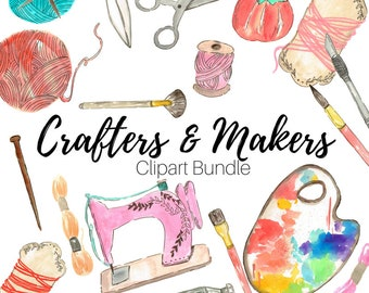 Watercolor clip art - Artist Clip Art - Clip Art Bundle - Sewing clip art - Hand drawn - Handmade - Commercial use