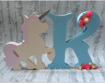 Freestanding 20cm Unicorn Initial Letter
