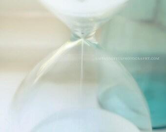 bathroom decor, hourglass photo, still life photograph, bathroom print, blue decor, white sand, yoga studio wall art, meditation art