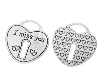 """2 Pieces Antique Silver Large Heart Lock """"I Miss You"""" Carved Charms"""