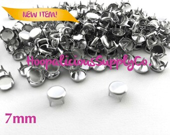 25pc Round Flat Top 4 Prong Studs in Silver. You choose 6mm or 7mm. DIY Clothing. Fast Shipping from USA w/ Tracking 4 Domestic Orders.