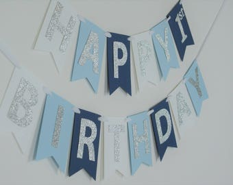 SHIPS FAST -  Navy and Silver High Chair Banner, ONE Banner, 1st Birthday Banner, Boy Banner Handcrafted and Shipped in 1-3 Business Days