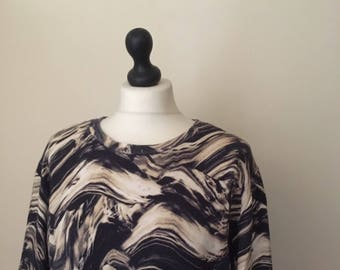 vintage abstract flame print oversized sweater WOMENS 12-14
