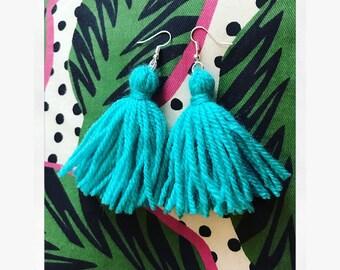 Yarn Tassel Earrings - Teal