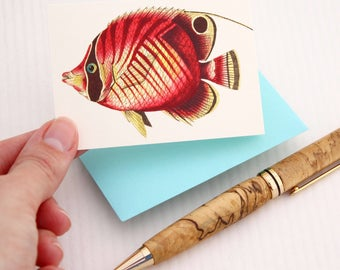 Pink Fish Tiny Notecard Set, Miniature Stationery Set, Mini Note Card and Envelope, Set of 5 Cards and Envelopes