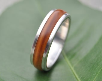 Tierra Guayacán Wood Ring - handmade wood wedding band with recycled sterling, lignum vitae, mens wood ring, wood wedding ring