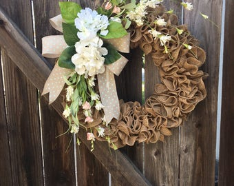 Wreath/burlap wreath/spring burlap wreath/front door wreath/hydrangea wreath/spring door wreath/spring floral wreath/burlap spring wreath