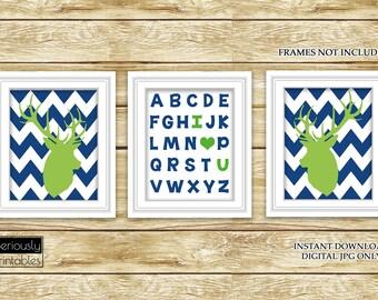 I Love Heart You Alphabet Lime Green Navy Blue Deer Wall Art Nursery Boys Room ABC's Printable Set of 3 8x10 Digital JPG Instant Download- 9