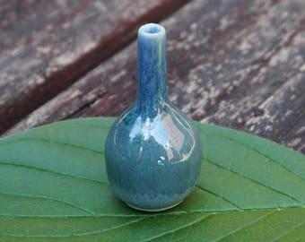 Mini Ceramic Vase - Metallic Blue