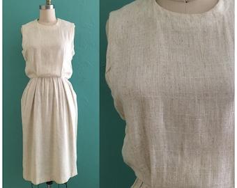 Vintage 80er Creme Baumwollkleid / / Frühjahr neutralen Shirt-Kleid