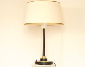 Mid Century Modern Lamp in Black Metal and Brass