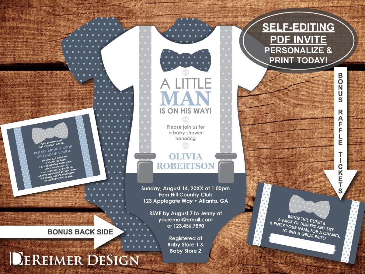 little man baby shower invitation onesie invitation bow tie
