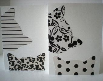 Peeping Tomcats 2-Card Set Handmade Cat Kitty Kitten Feline Animal Friend Whimsical Ivory Black Cut Paper Collage