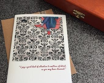 SHERLOCK blank greeting card faerie tale feet the game is afoot baker street stationary sherlock holmes card art john watson 221B baker st