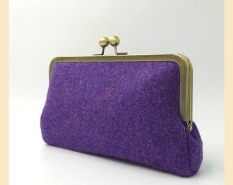 clutch bag, purple Harris Tweed clutch purse, purple tweed purse with green silk lining, evening bag with optional personalisation