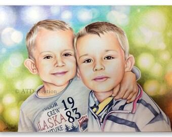 CUSTOM coloured pencils PORTRAIT - hand drawn portrait from your photo