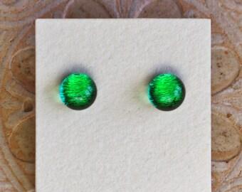Dichroic Glass Earrings, Mineral Green  DGE-1354