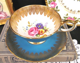 Aynsley Tea Cup and Saucer Blue & Floral Gold Lace Teacup Athens Shape
