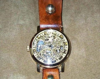 Steampunk Edwardian Victorian leather BELT-HUNG watch