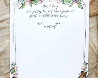 Illustrated Marriage Certificate | Custom Hand Drawn Quaker Marriage Certificate for Weddings & Special Events