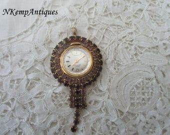 Diamante necklace watch