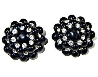 Black Bead and Rhinestone Earrings Clip On