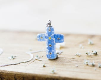 Forget me Nots Necklace , Christian Cross, Christian Necklace , Jesus , Memorial Jewelry , Christian Jewelry , Gift for her , Something Blue
