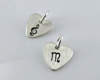 10.5mm Heart Charm Add On - Sterling Silver Heart Cutout, Hand Stamped