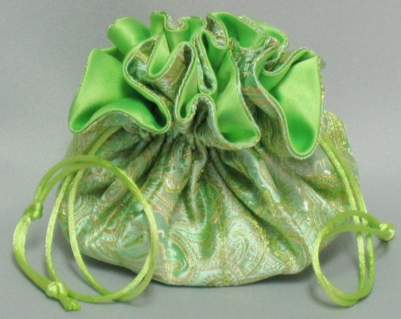 Jewelry Organizer Travel Tote---Satin Brocade  Drawstring Pouch---Lime Green & Gold Paisley---Regular Size