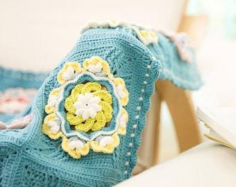 Throw blanket,Crochet blanket ,crochet throw,handmade blanket,lilypad blanket,Crochet Afghan