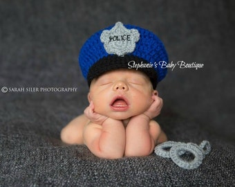 Newborn Baby Police Hat, Set, Crochet, Custom Made, Photo Prop, Photography Prop, Baby Shower Gift, Baby Cop, Policeman hat, handcuffs