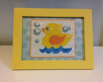 Cross Stitched Rubber Duckie