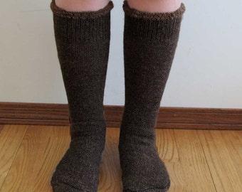 Extreme Alpaca wool socks - Super cozy warm and soft socks Size Small Dark Brown