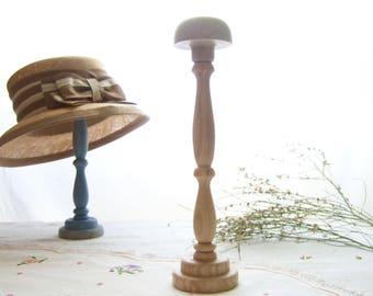 Wood hat stand, retro French hat holder, raw turned wood hat rack, millinery haberdashery, elegant rustic hat display, shabby wabi-sabi