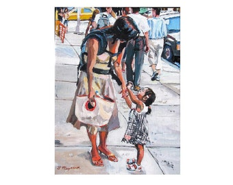 Mother and Child, daughter & Mama figurative Asian mom, NYC Fine Art Print street scene 8x10, City white black Painting by Gwen Meyerson