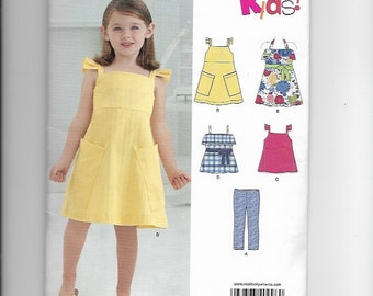 UNCUT Sewing Pattern New Look 0996 for Girls Sundress, Pants, Top, Sz 3 -- 8