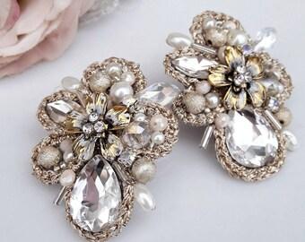 Ivory crystal earrings - beige earrings -clip on earrings
