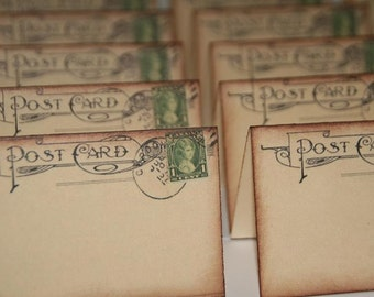 Wedding Place Cards, Vintage Post Cards Placecards, Canada Stamp, Canada Escort Cards, Tent Table Wedding Placecards, 100