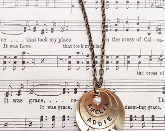 Custom Handstamped Stacked Disc Brass Necklace with vintage pearl