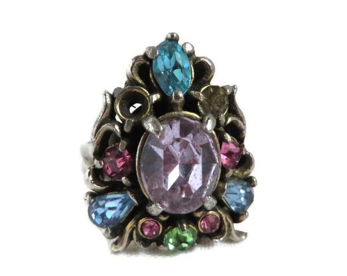 Vintage Hollycraft Ring - 1950 Multi Stone Rhinestone Adjustable Ring, Missing Rhinestone