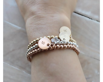 rose gold ball bracelet • gold round beads bracelet • stretch beaded bracelet • shiny round beads • rose or yellow gold or sterling B038