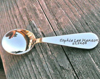 Custom Stamped Solid Sterling Toddler Spoon