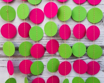 Pink and Green paper garland, Lime green decorations, Lilly pulitzer garland, Lime shower, Pink kids decorations, Pink photo backdrop
