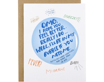 Get Well Card - Feel Better From My Bubble