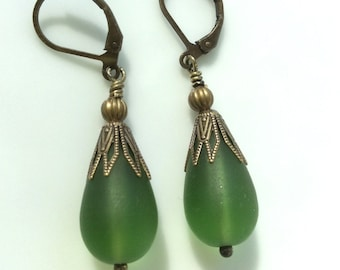 Green Glass Earrings  Bohemian Earrings  Glass Teardrops  Boho Earrings  Matte Glass Earrings  Leverback Earrings  Gypsy Dangles